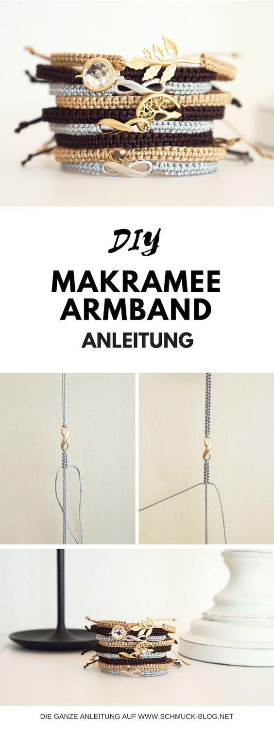 Anleitung für Makramee Armbänder. Knüpf dir dein eigenes Makramee Armband mit der beliebten Makramee Technik! → Zum Blogbeitrag