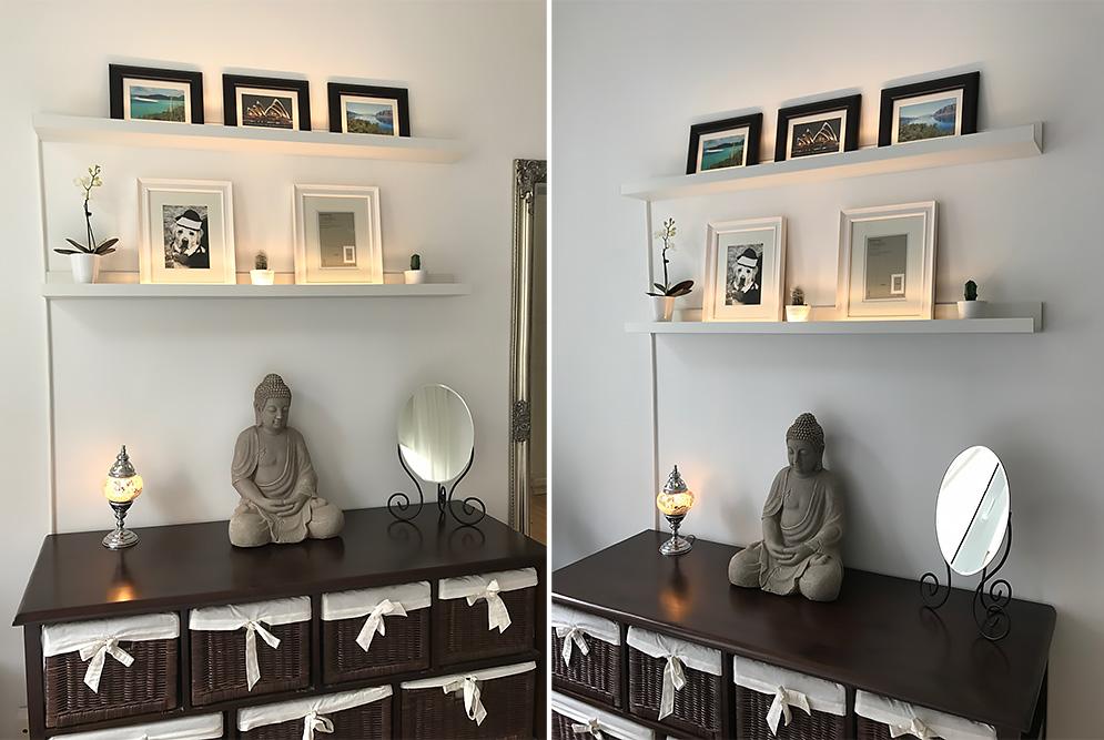ikea hack mosslanda bilderleiste mit indirektem licht. Black Bedroom Furniture Sets. Home Design Ideas