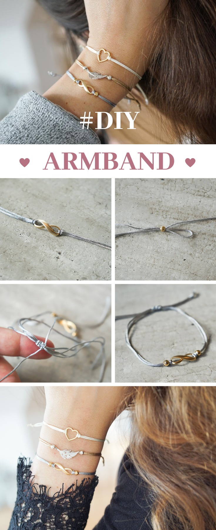 Bastel dir ganz einfach selbst schöne Armbänder mit Schiebeverschluss in deinen Lieblingsfarben- und Formen. Die Anleitung dazu gibt es hier ♥