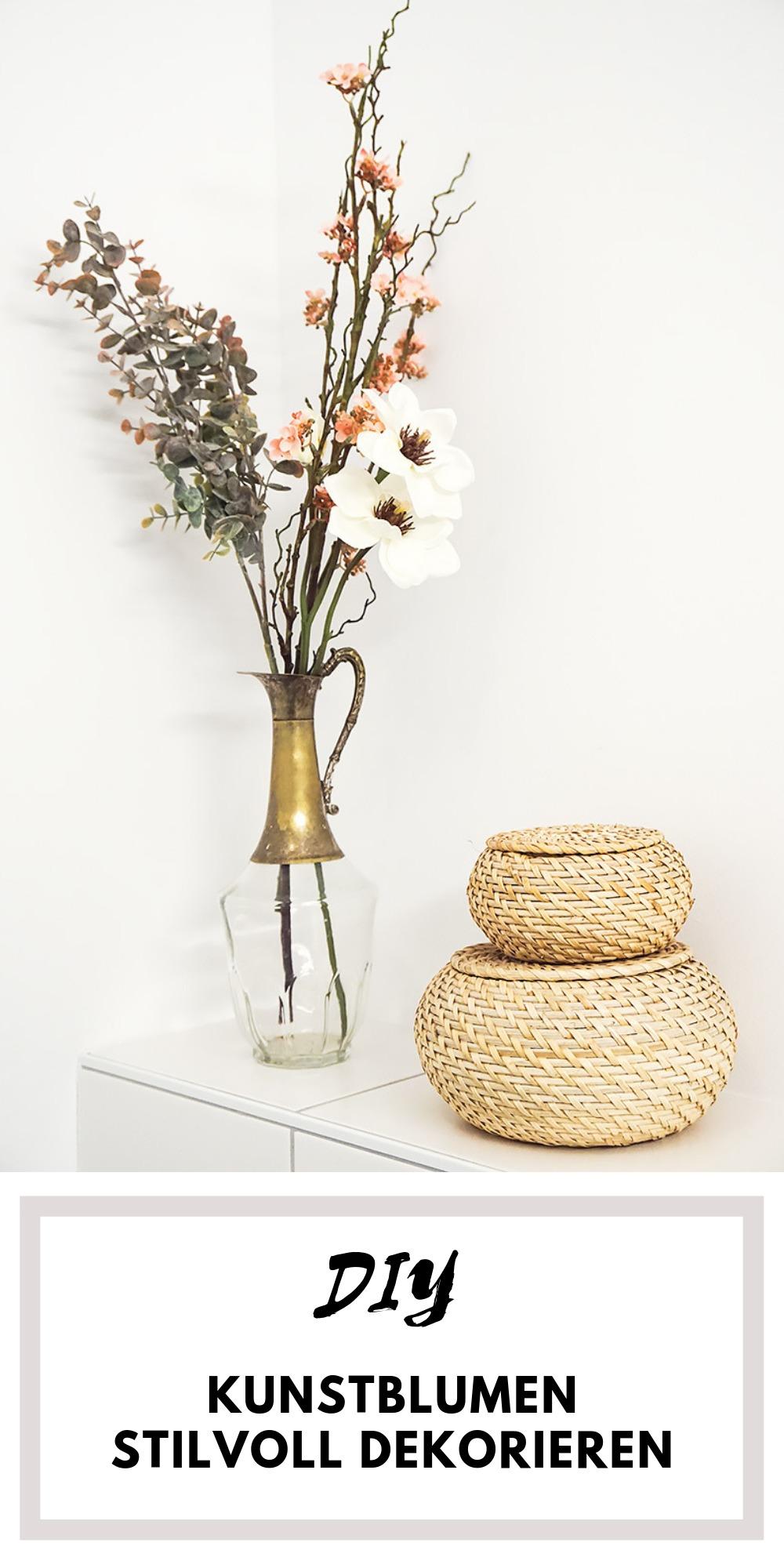 DIY Tipps wie ihr Kunstblumen stilvoll und hochwertig anordnen könnt, ohne dass es zu kitschig aussieht. Erstellt euch euren eigenen Kunstblumen-Strauß als edle Deko für Zuhause!