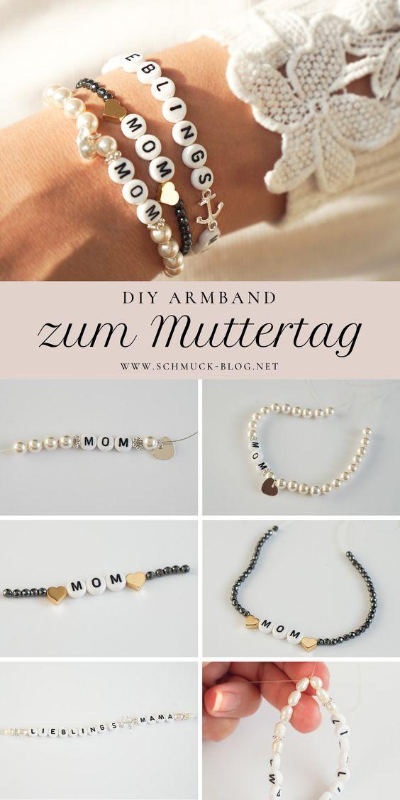 Bastel wunderschöne Muttertags Armbänder als Geschenk mit den Initialen oder MOM, Lieblingsama, Mama, mit dieser einfachen DIY Anleitung.