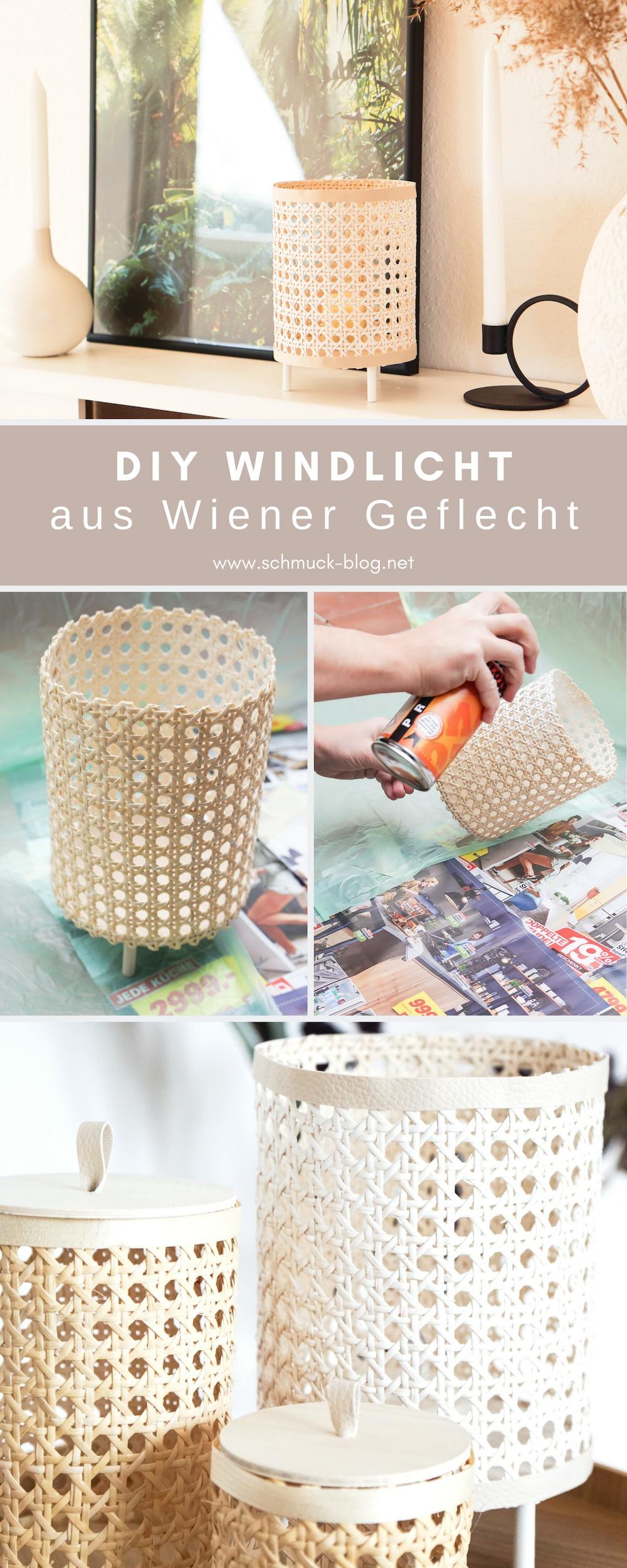 DIY Windlicht aus Wiener Geflecht / Rohrgeflecht einfach selbst basteln. Die DIY Bastelanleitung für diese tolle DIY Deko Idee findet ihr im Blog!