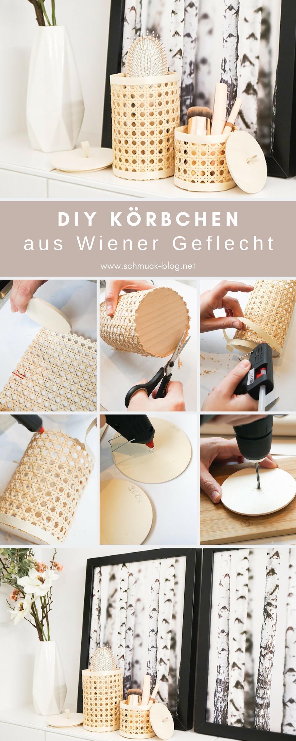 Bastel ganz einfach hübsche DIY Körbchen aus Wiener Geflecht für´s Badezimmer oder Büro. Ideal für Kosmetik, Schminke, Stifte und kleine Geheimnisse ♥