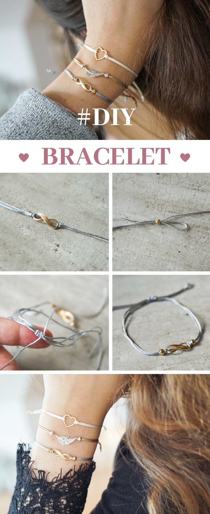 Simple DIY bracelets with slide closure